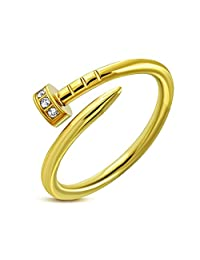 Pure316 Women's 6mm l Nail Ring W/Clear CZ in Gold Plated 316L Stainless Steel - JK-WRP140