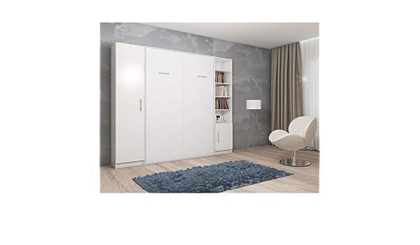 Inside75 - Armario Cama Plegable Smart-V2, 160 cm, 2 columnas de Almacenamiento, Color Blanco Mate: Amazon.es: Hogar