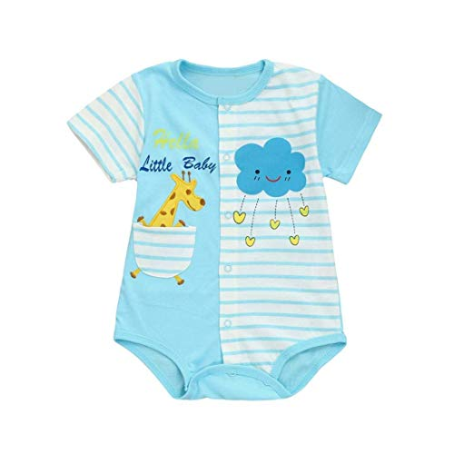 Sleepsuits Newborn Baby Boy Girl Romper Short Sleeve Cartoon Animals Print Home Pajama Jumpsuit for 0-12 Months for You (Size : 0-3 Month|Sky Blue) by Junson