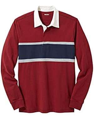 Men's Big & Tall Long-Sleeved Rugby Polo