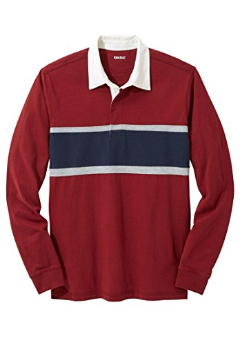KingSize Men's Big & Tall Cotton Long-Sleeved Chest Stripe Rugby Polo, Rich Big And Tall Rugby