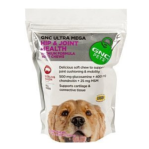 (GNC Ultra Mega Hip and Joint Health Supplement Premium Formula Soft Chews Sizzling Bacon 60 Count)