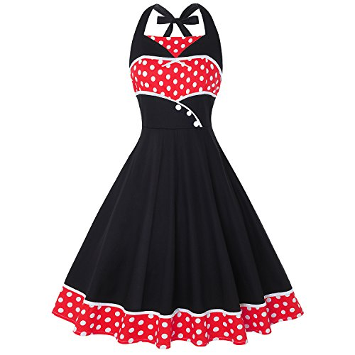 (Wellwits Women's Polka Dots Halter 1950s Vintage Pin up Nautical Dress Red 3XL)