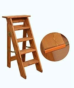 Zengai escalera madera escalera de 5 pasos plegable en for Escalera de madera 5 pasos