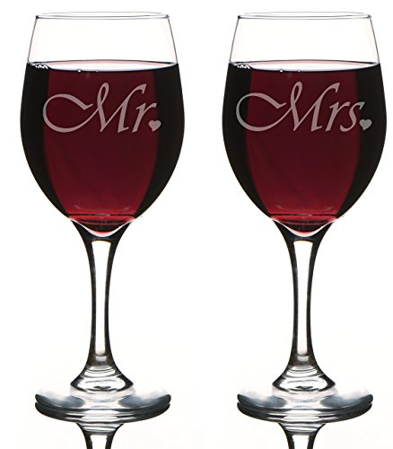 Mr. and Mrs. Wine Glass Gift Set Great Gift Wedding, Anniversary, Couple's Gift, Bridal Shower, Toasting glasses, Novelty Glasses, His and Hers