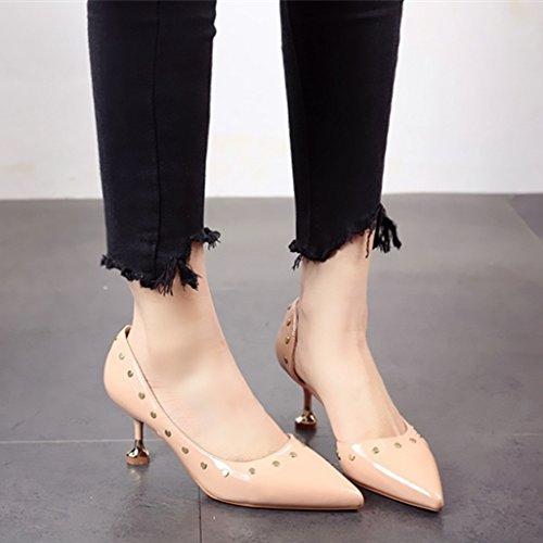 solo altos fiesta mujer FLYRCX remaches tacones y La a de zapatos superficialmente Zapatos qIR0wRTn