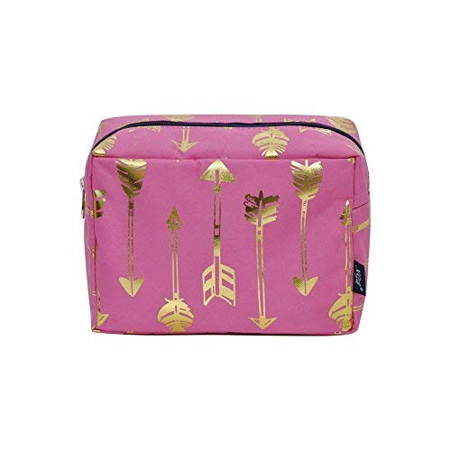 (NGIL Large Travel Cosmetic Pouch Bag Spring 2018 Collection (Gold Arrow Pink) )