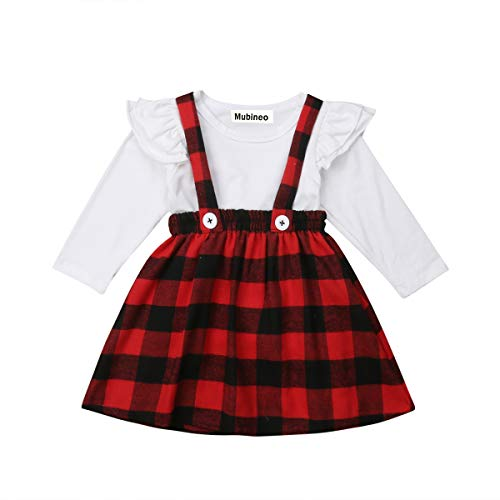 Toddler Baby Girl Infant Plain T Shirts Plaid Overall Skirt Set Cotton Outfits (White+Red, -
