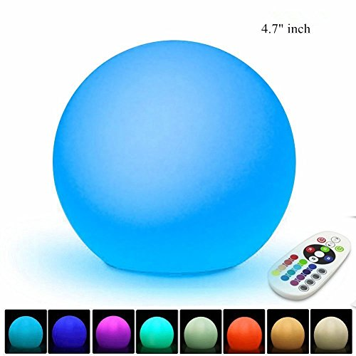 """GIWOX LED Rechargeable Mood Lamp 4.7"""" with 16 Colors Changing Night lights and 4 Flash Modes Cordless Bedside Ball Lights"""