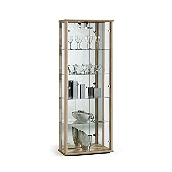 Ordinaire Displaysense Oak Glass Display Cabinet With Lighting   670mm (Silver, Oak U0026  Black Available