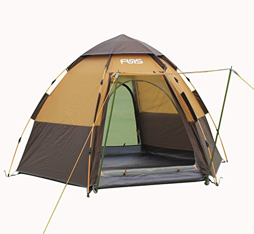 FUNS 8 by 9 feet Hexagon Pop up Camping Gazebo Easy One Touch Automatic Set-Up Instant Tent