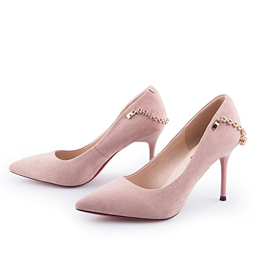 Sandals Feifei Women's Shoes Summer Fashion Black Pink Shallow Mouth Wear-Resistant Single Shoes Thin Heels Pink 3N4sr