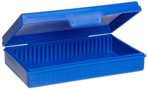 - Heathrow Scientific HD15990A Blue Polypropylene 25 Place Economy Microscope Slide Box, 141mm Length x 92mm Width x 36mm Height