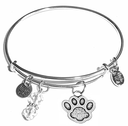 Message Charm (22 words to choose from) Expandable Wire Bangle Bracelet, in the popular style, COMES IN A GIFT BOX! (Paw Print)