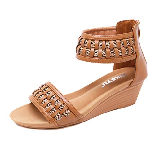 Womens Espadrille Wedge Sandals Peep Toe Woven Slides on Platform Summer High Heel Slippers-8 M US Brown