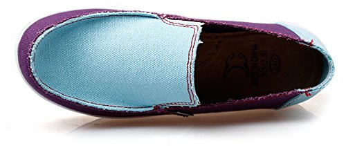 Ausom Womens Slip-On Swing Wedges Casual Canvas Shoes Platform Lose Weight Fitness Walking Sneaker Blue Purple yjdfpzbC3