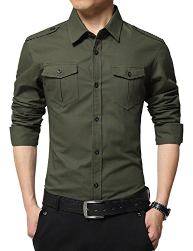 XTAPAN Men's Long Sleeve Casual Slim Fit Button Down Dress Shirt with Two Pockets Army Green 2XL 6620 ()