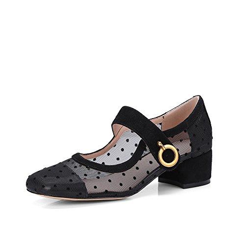 Negen Zeven Echt Leer Dames Vierkante Neus Dikke Hak Mode Handgemaakte Mary Jane Pumps Schoenen Nieuw Zwart