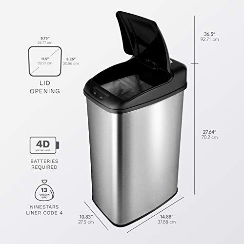 NINESTARS DZT-50-6 Automatic Touchless Infrared Motion Sensor Trash Can, 13 Gal 50L, Stainless Steel Base (Rectangular, Black Lid)