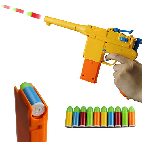 ZHENDUO Mauser Pistol Toy Gun with 10 Rubber Soft Bullets Mini Foam Dart Gun Blasters for Children Kids Cosplay Gifts (Yellow)
