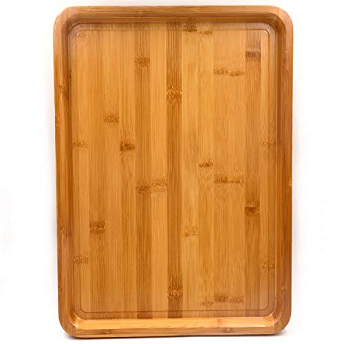 Tray Rectangular Wooden (Bamber Large Size Bamboo Serving Tray, Rectangular, 18 x 13 x 1.2 Inches)