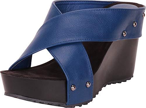 Sandals Ladies Designer - Cambridge Select Women's Open Toe Crisscross Chunky Platform Wedge Slide Sandal,9 B(M) US,Royal Blue PU