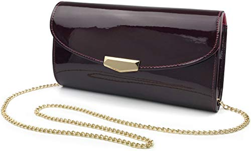 Slip Shoulder Bag - Women Glossy Evening Clutch Faux Patent Leather Chain Shoulder Bag Large Capacity Purse (Burgundy)