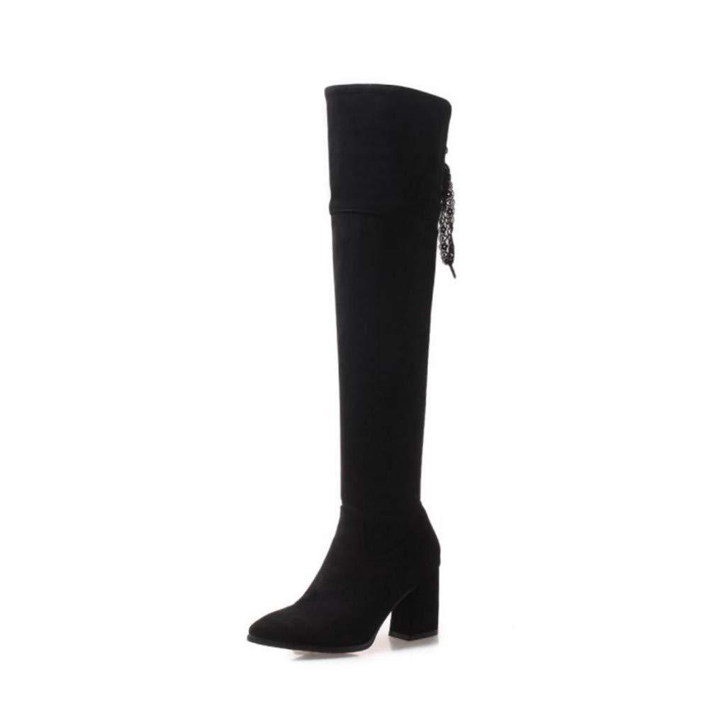 HAOLIEQUAN Plus Größe 32-47 Frauen Oberschenkel Hohe Stiefel Winter Warme Schuhe Frau Bowknot High Heels Lange Stiefel Reißverschluss Schuhe