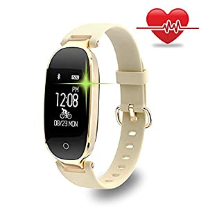 WOWGO Fitness Tracker, Women Sport Tracker Smart Watch Band Bracelet, Heart Rate Monitor Smart Bracelet,Wristband Watch with Health Sleep Activity Tracker Pedometer for iOS Android Phone, Gold