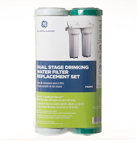 GE FXSVC Dual Stage Drinking Water Filtration System Replacement Filter (VOC) - Dual Stage Drinking Water Filter