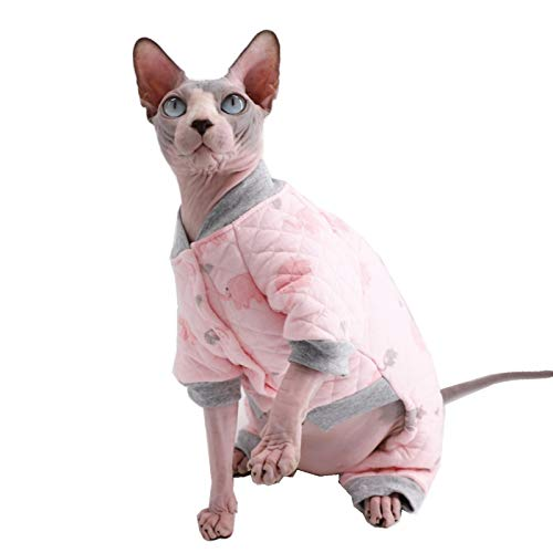 Kitipcoo Sphynx Cat Clothes Soft Cotton Thick Winter Warm Four Leg Hoodie Jumpsuit Outfit, Coat for Cats Pajamas for Cats and Small Dogs Apparel, Hairless cat Shirts Sweaters