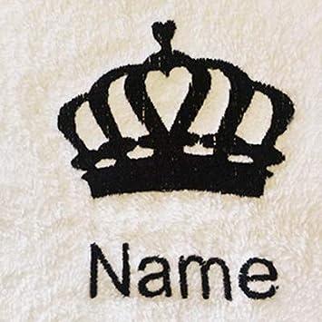 10/o 12 6 4 Pink Childs accappatoio con cappuccio con logo Regina corona e nome a scelta in rosa 8 Et/à: 2 Et/à 2