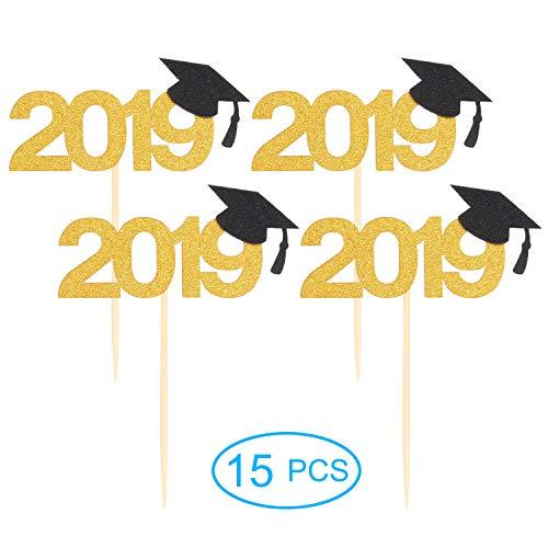 LINGPAR 15Pcs 2019 Cupcake Toppers with Glitter Grad Cap Food/Appetizer Picks Celebrate Grad Party Décor - Master Ph.D - High School College Class of 2019 Graduate Themes Party Photo Props Gold -