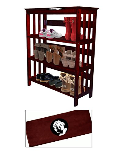 Women's Cherry Finish Large Shoe Rack (Shoes NOT Included) Featuring Your Choice of a Novelty Themed Decal. Great for the Closet, Entry Way, or Mud Room! (Movie Reel)
