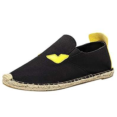 qzunique Women's Qz Canvas Slip On Shoes Loafers Casual Flats Sneakers 9.5 B(M) US Black