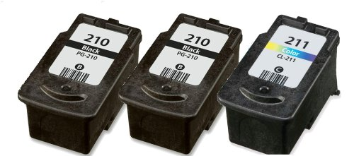 HouseOfToners Remanufactured Ink Cartridge Replacement for Canon PG-210 & CL-211 (2 Black & 1 Color, 3-Pack)