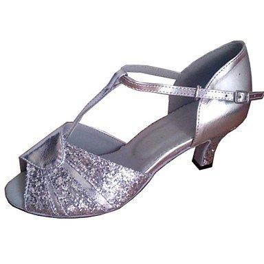 XIAMUO Anpassbare Damen Tanz Schuhe Ballsaal/Latin Leder/funkelnden Glitter angepasste Ferse Silber, Silber, Us5.5/EU36/UK3.5/CN 35