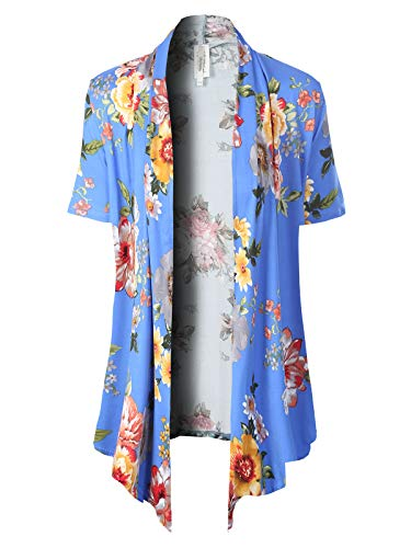 MixMatchy Women's [Made in USA] Solid Jersey Knit Short Sleeve Open Front Draped Cardigan (S-3XL) Lt Royal Flower Print XL