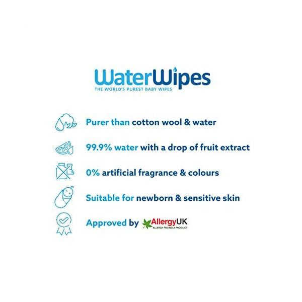 WaterWipes Salviettine Umidificate per la pelle sensibile dei bambini, 99,9% di acqua purificata, 12 Confezioni da 60 2