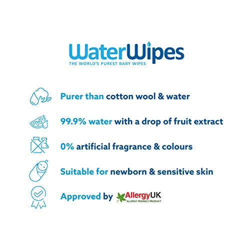 Waterwipes Baby Wipes 999 Water Unscented Sensitive Newborn Skin 60 Unidad Paquete De 18
