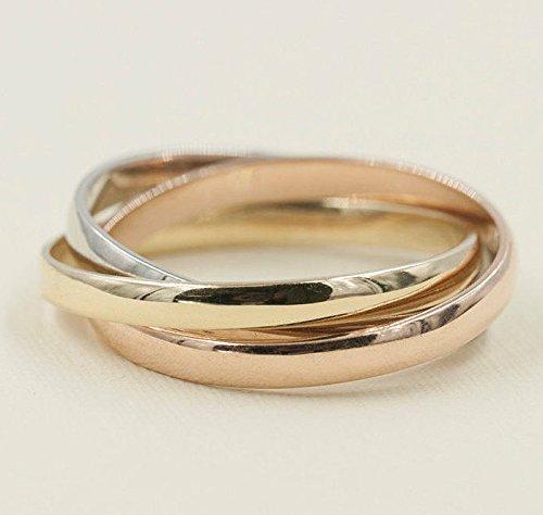 (3 Tones Matching Wedding Band, Trinity Minimalist Wedding Band, Stacking Friendship Ring, Rose Gold Ring, Dainty Rose/Yellow/White Ring)
