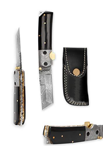 Perkin Custom Made Damascus Folding Knife Tanto Blade & Buffalo Horn Handle