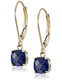 10k Gold Cushion Cut Checkerboard Created Gemstone Dangle Leverback Earrings (6mm)