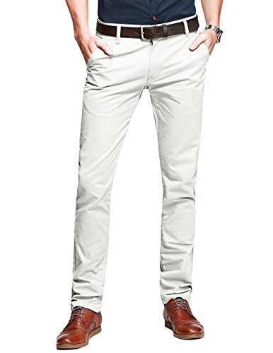 Match Mens Slim-Tapered Flat-Front Casual Pants(36W x 31L,Off White)