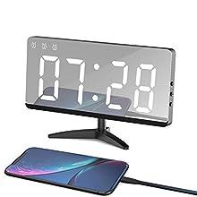 LED Despertador Digital Espejo Despertador Alarma Electrónico Reloj Despertador Moderno con USB Puerto, Función de Alarm/Memoria Automática, Modo de Bucle de Hora/Fecha/Temperatura/3 Brillo Ajustable