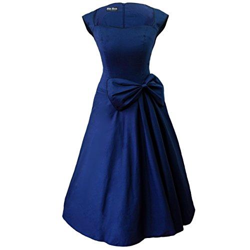 Retro de 1950s en voladizo estilo e instrucciones para hacer vestidos azul marino