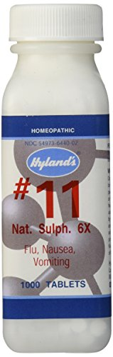 Hyland's Cell Salts #11 Natrum Sulphuricum 6X Tablets, Natural Homeopathic Relief of Flu, Nausea, and Vomiting, 1000 Count