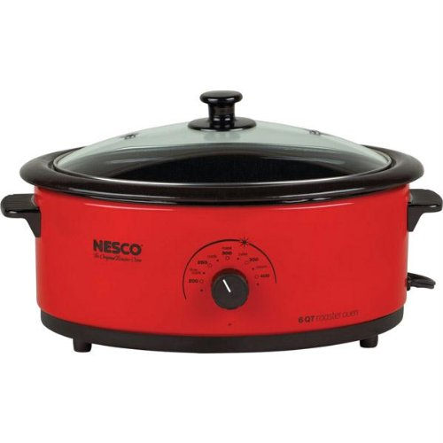 6 QT ROASTER OVEN RED PORCELAIN by Nesco (Image #1)