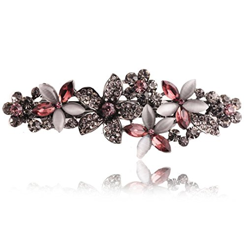 Huphoon Exquisite Elegant Classic Gemstone Hairpin Side Clip Fashion Hair Accessories for Women (purple)