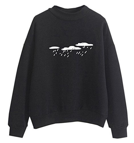 Fashionable Styles Hoody Clothing Pullovers Embroidery Korea Ladies Shirt, Black, Medium
